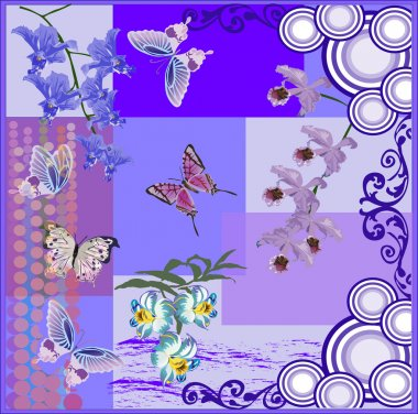 composition with blue butterflies and orchids