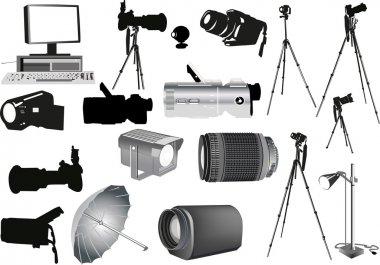 set of photo and video equipment
