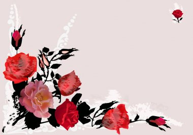 corner with red roses on ligth background
