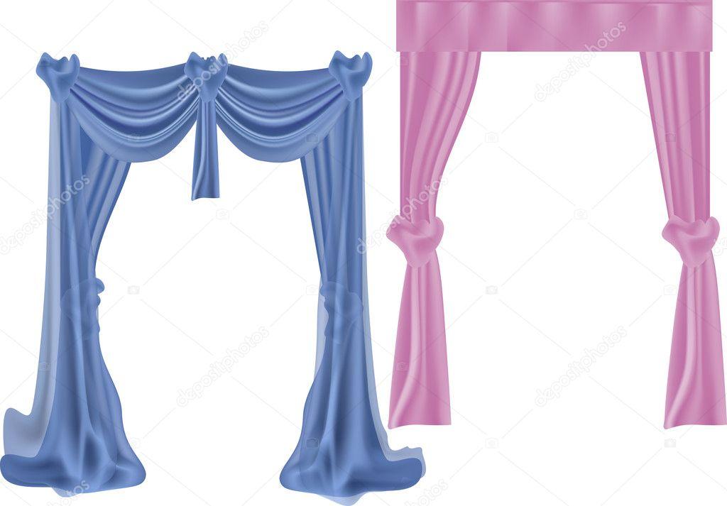 Cortinas azules y rosas aisladas en blanco vector de for Cortinas en blanco