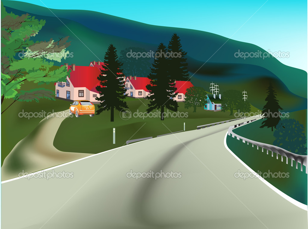 road near houses illustration