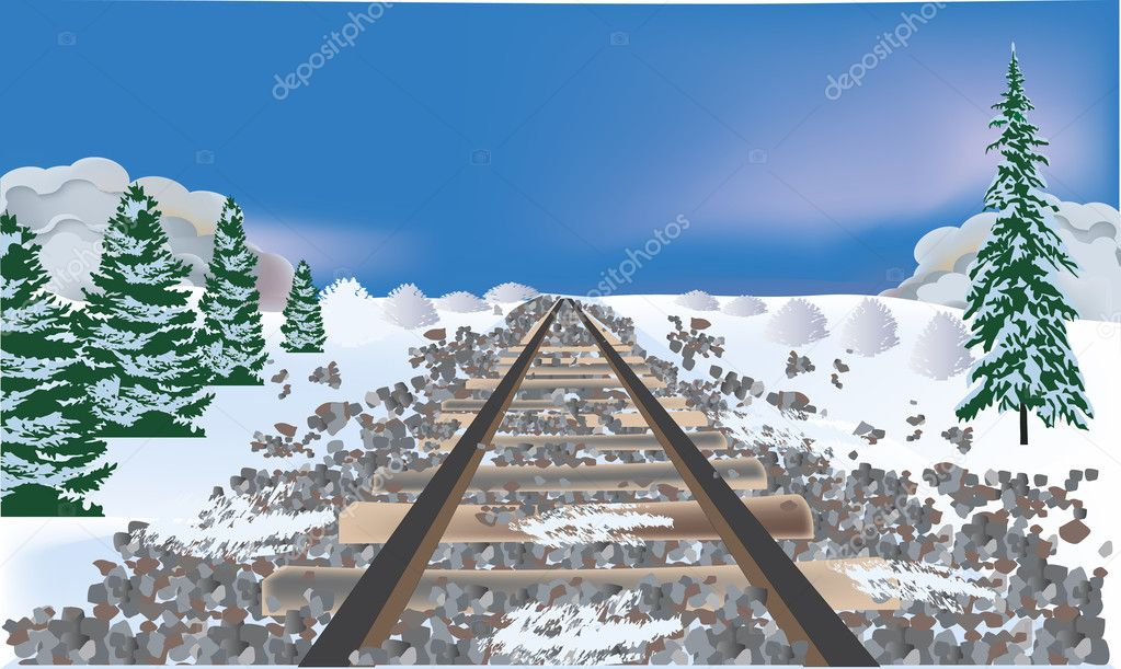 railroad bed in winter landscape