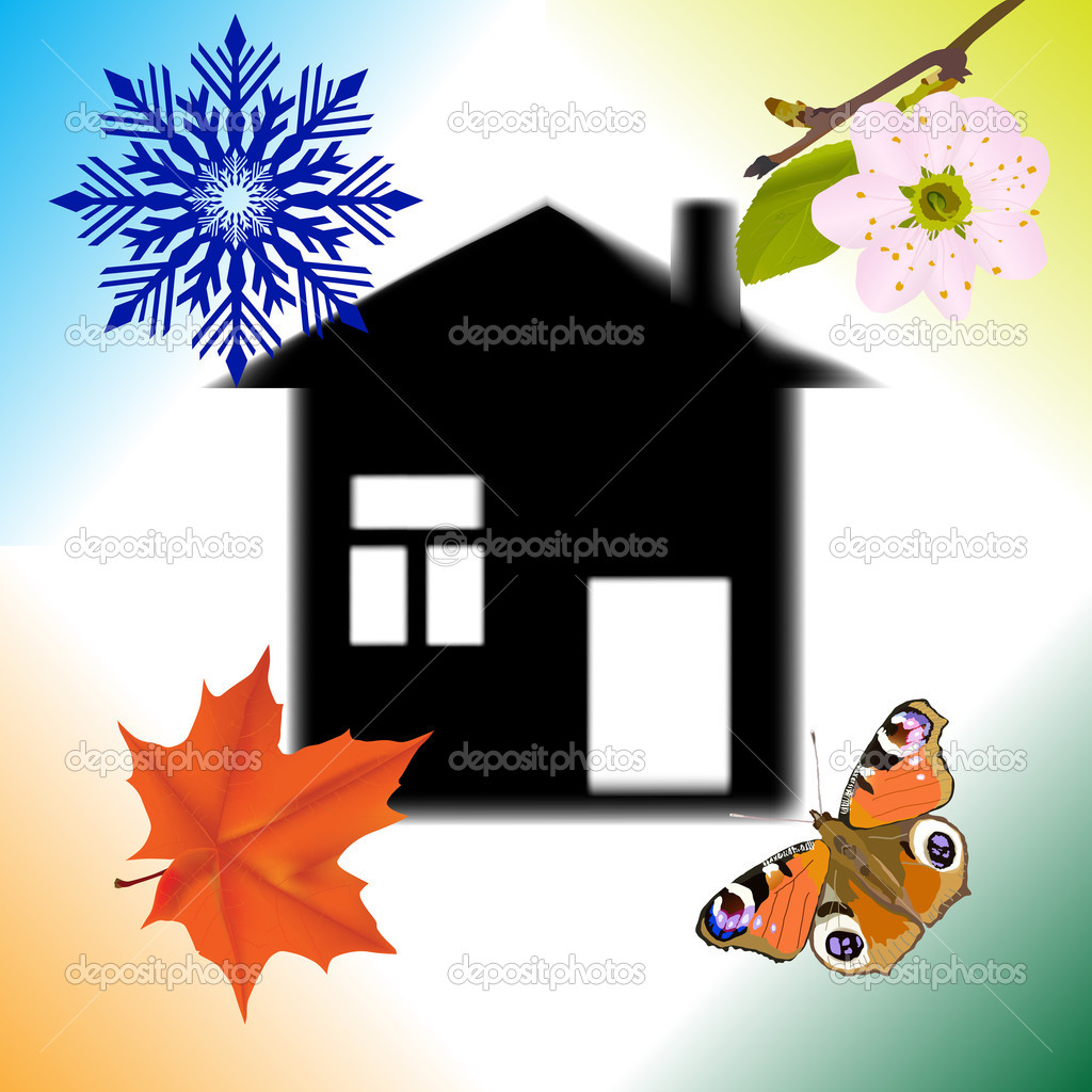 four seasons abstract house illustration