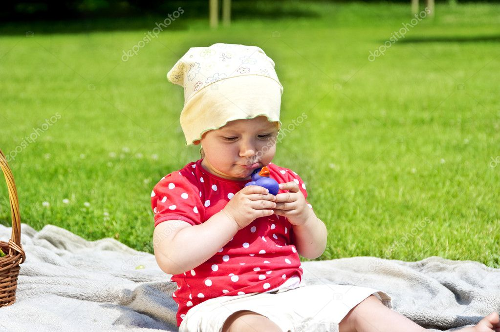 Baby On Grass Play