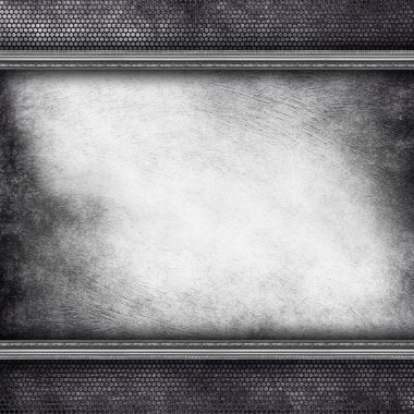 Grunge scratched wall and metal grill background