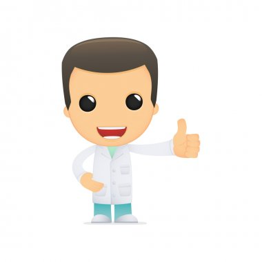 Funny cartoon doctor in various poses for use in advertising, presentations, brochures, blogs, documents and forms, etc. clip art vector