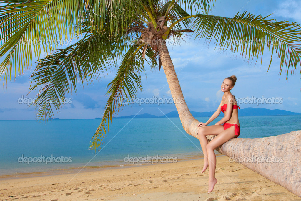 Woman sitting on palm tree at the beach stock photo dashek beautiful blonde woman in a red bikini sitting on the bent trunk of a palm tree at the beach overlooking the sea photo by dashek voltagebd