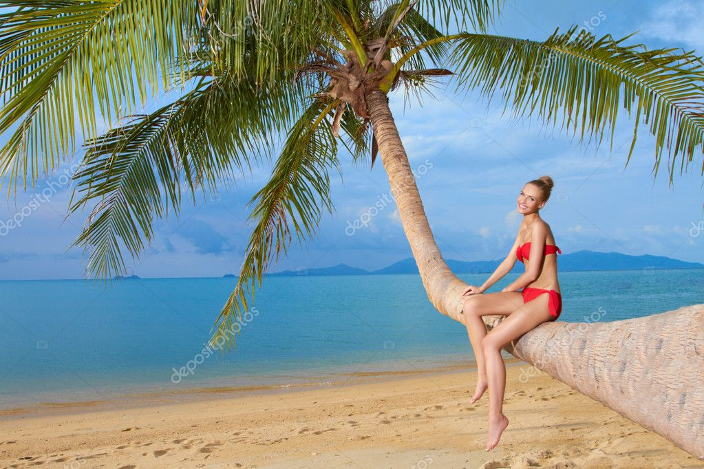 Woman sitting on palm tree at the beach stock photo dashek beautiful blonde woman in a red bikini sitting on the bent trunk of a palm tree at the beach overlooking the sea photo by dashek voltagebd Image collections