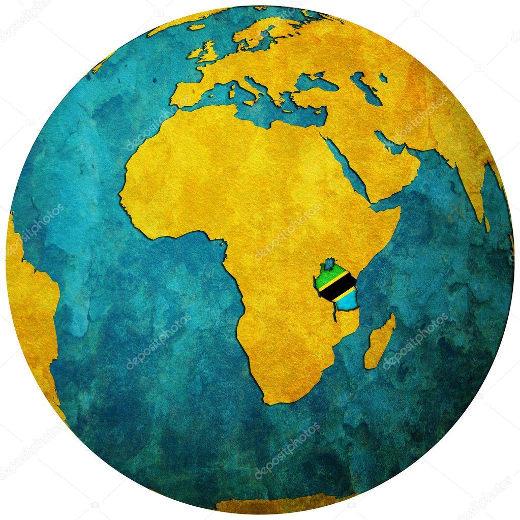 drapeau de la Tanzanie sur carte globe — Photographie michal812 © #11724618
