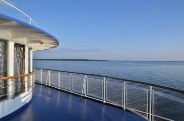 Fence of a deck on river cruise boat on Volga river