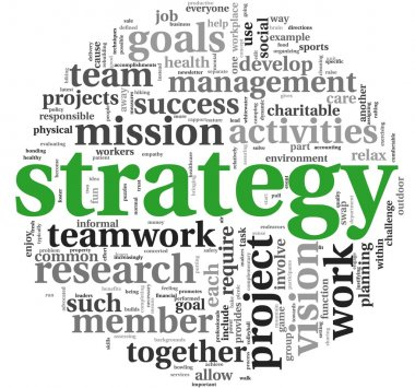 Strategy and management concept in word tag cloud stock vector