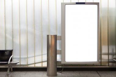 Blank vertical billboard located in underground hall stock vector