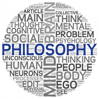 Philosophy concept in word tag cloud