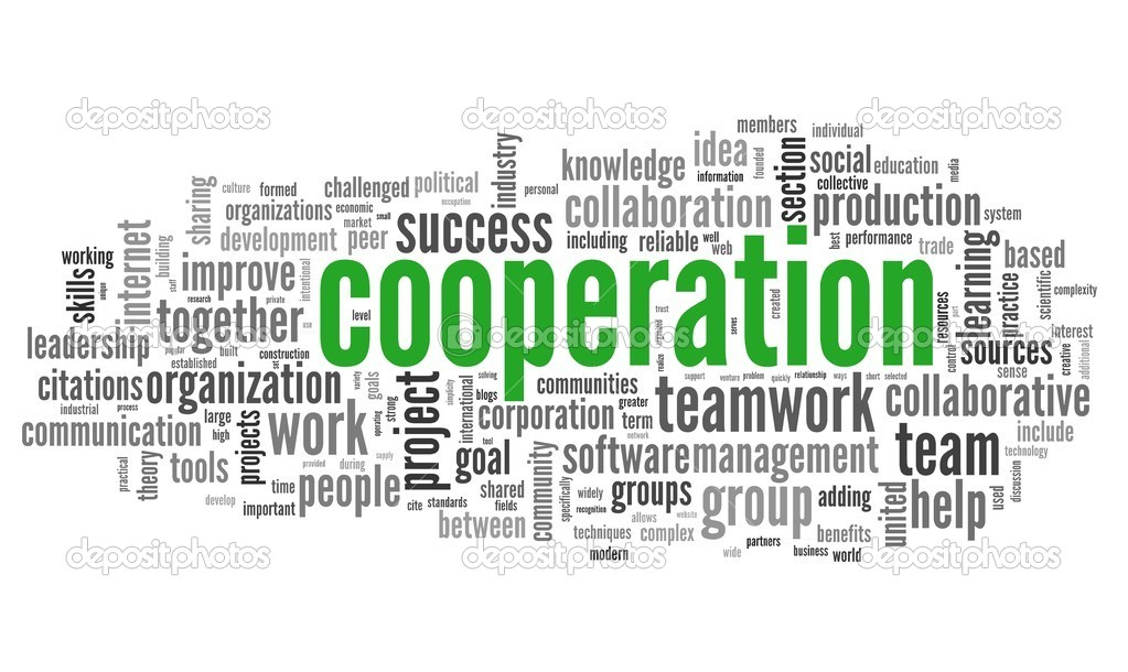 Cooperation concept in word tag cloud on white