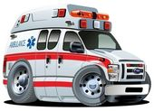 Photo Vector Cartoon Ambulance Car