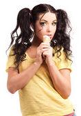 žena jíst LED vřískot