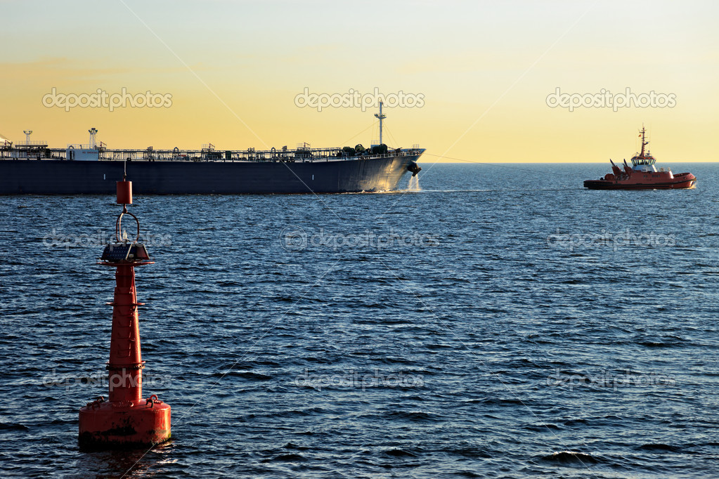 The tanker out to sea