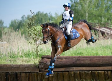 Woman eventer on horse is Drop fence in Water jump