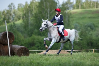 Cross-country. Unidentified rider on horse before Fixed obstacle
