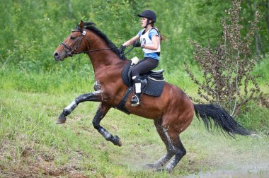Woman eventer on horse is overcomes the Ski jump
