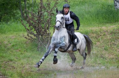 Eventer on horse negotiating Water jump