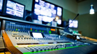 Equipment in audio recording studio