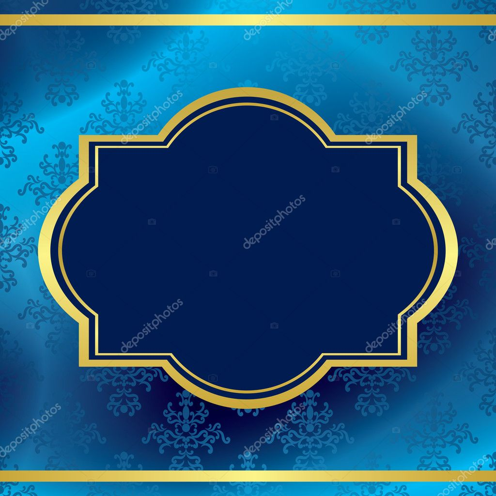 Vettore Sfondo Blu Scuro Con Montatura In Oro E Modello Vettoriali
