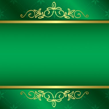 Bright green card with floral gold decorations - vector