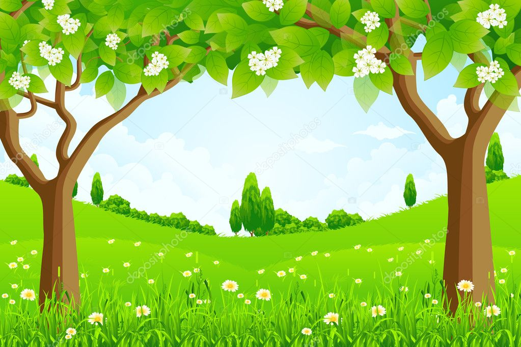 Green Background with Trees