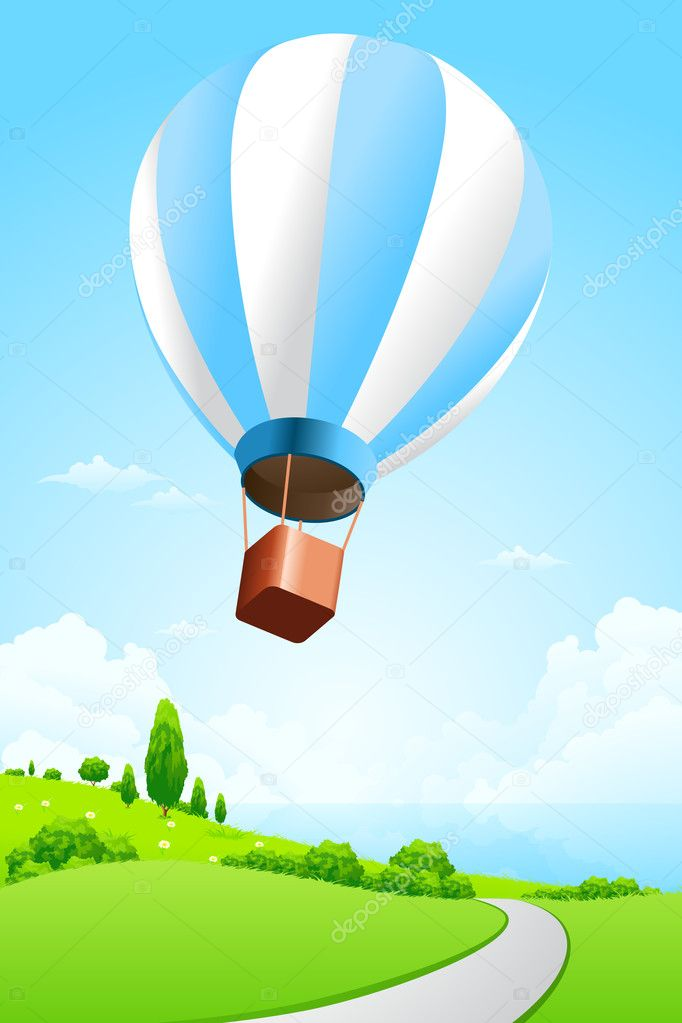 Green Landscape with Hot Air Balloon