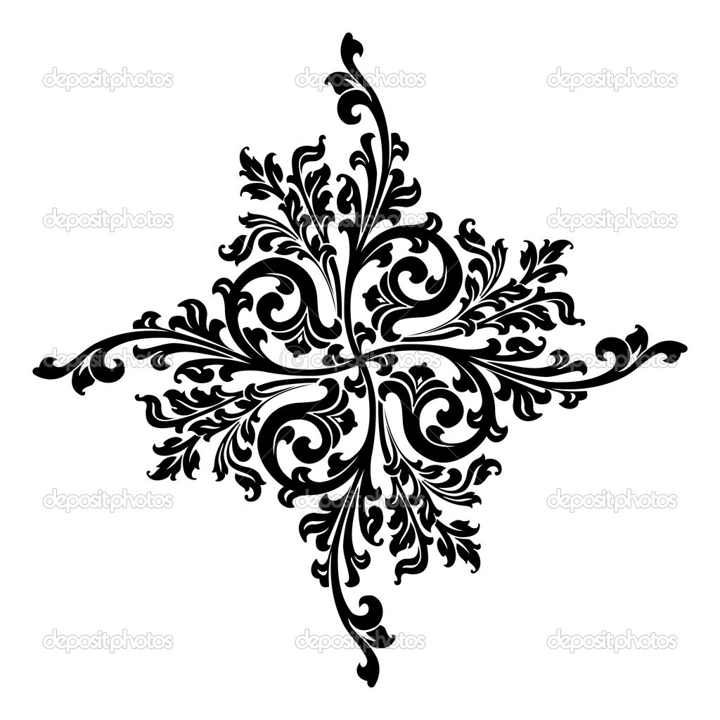 Abstract Floral Decorative Element In Black Color Vector
