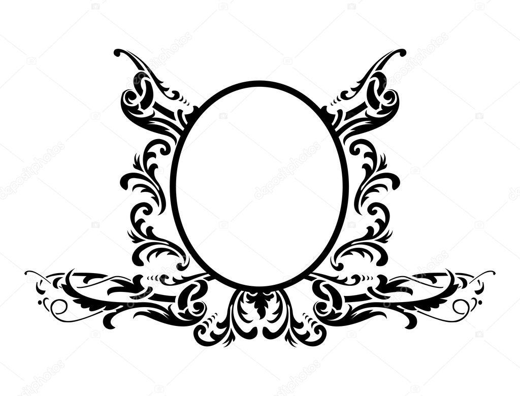 schwarzer Rahmen mit Blumenschmuck, Vektor-illustration ...