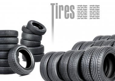 Many tires on white background