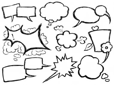 Hand Drawn Speech And Thought Bubbles clip art vector