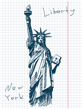 Hand drawn statue of liberty in New York