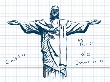 Hand drawn Cristo in Rio De Janeiro clip art vector