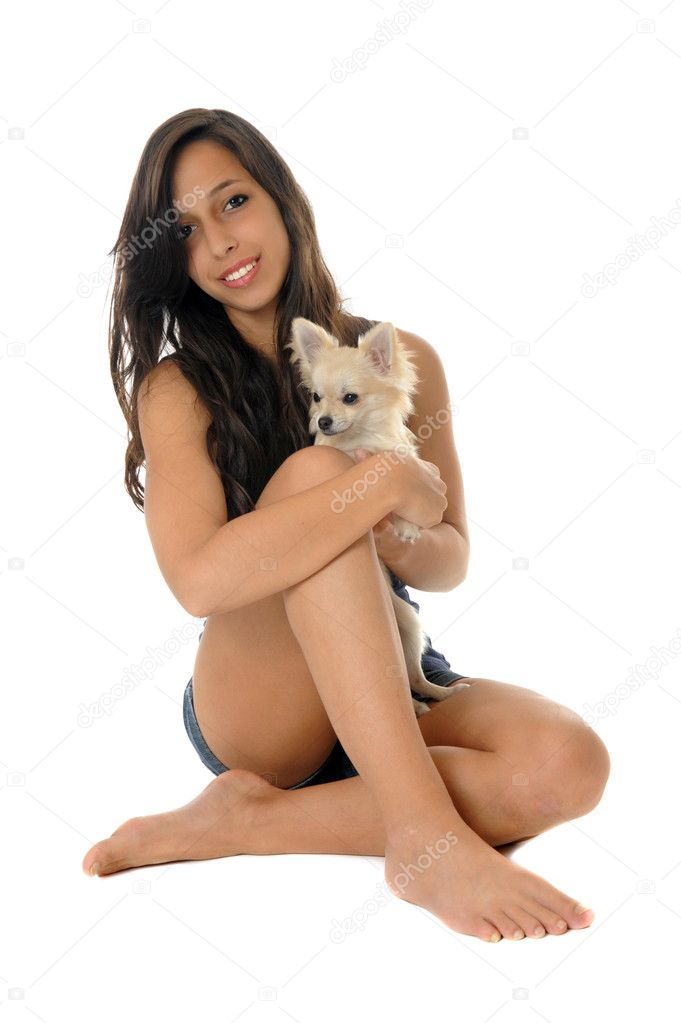 Portrait of a young woman and white chihuahuas in front of white background