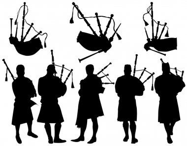 Silhouettes Scottish highlander wearing kilt and playing bagpipes vector