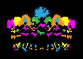 Fotografie schöne Karneval Tänzerin, erstaunlich Kostüm Vektor in Nacht