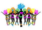 krásné karnevalové tanečnice, úžasný kostým vektor