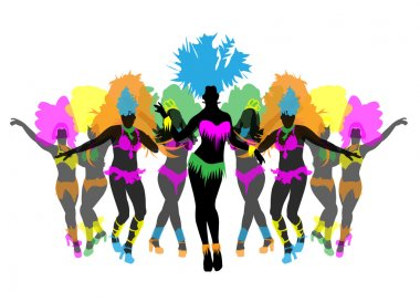 Beautiful carnival dancer, amazing costume vector