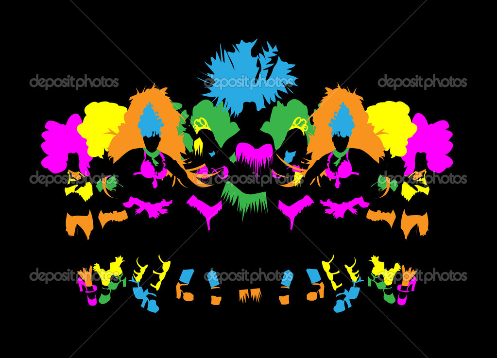Beautiful carnival dancer, amazing costume vector in night