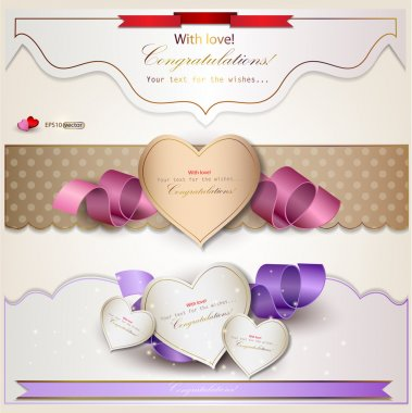 Set of holiday banners with ribbons. Vector background clip art vector