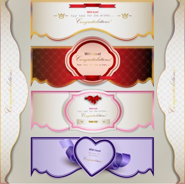 Set of holiday banners and labels with ribbons. Vector backgrou