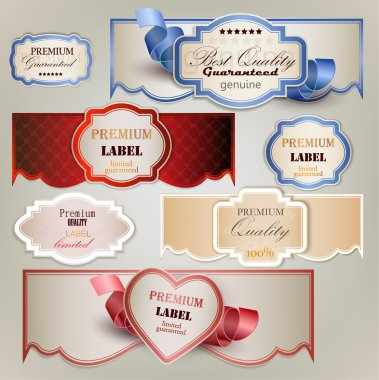 Set of holiday banners and labels with ribbons. Vector backgroun