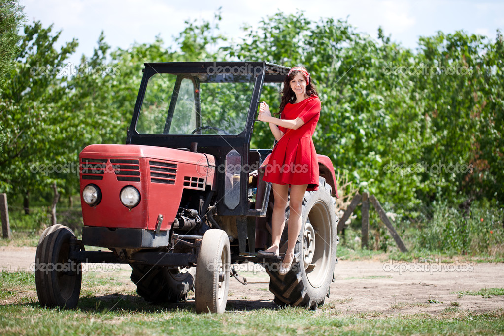 Country girl on tractor