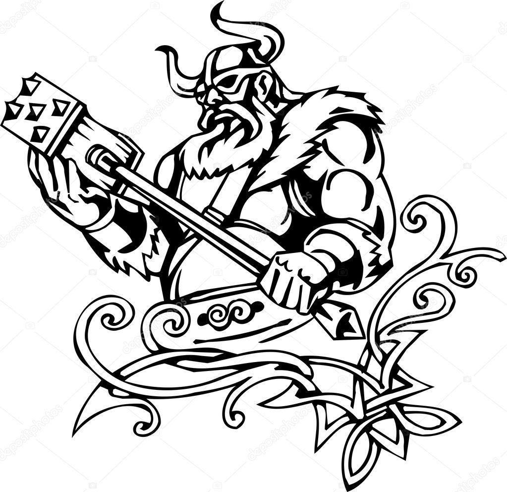 Nordic viking - vector illustration. Vinyl-ready. — Stock Vector ...