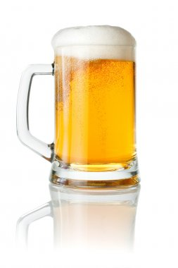Mug fresh beer with cap of foam isolated on white background