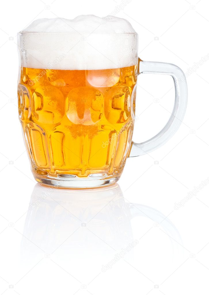 Fresh beer Mug with foam Isolated on white background