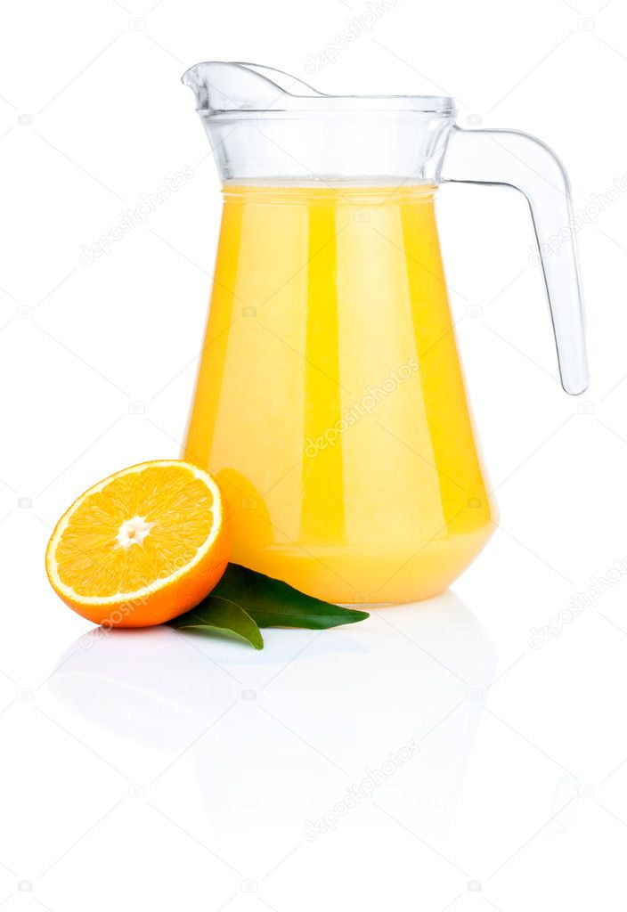 Orange juice in pitcher, half oranges and the leaves, Isolated o